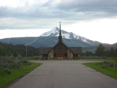Big Sky ski area and church
