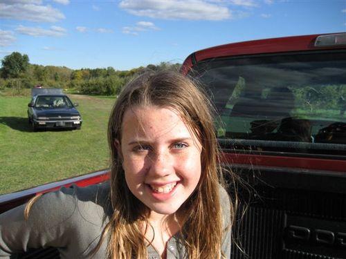 Hannah in a pickup truck